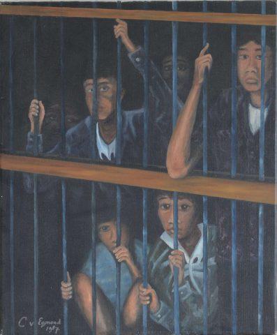 Amnesty International kinderen in de gevangenis 1987 olieverf op doek - 50x60 cm