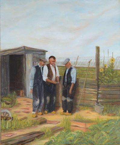 Bij de hut in het dooiegat Rijnsburg 1990 olieverf op doek - 50x60 cm