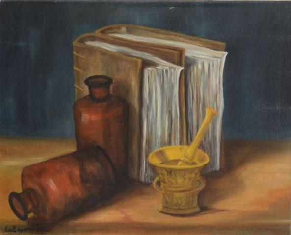 Boeken en vijzel 1986 olieverf op doek - 50x40 cm