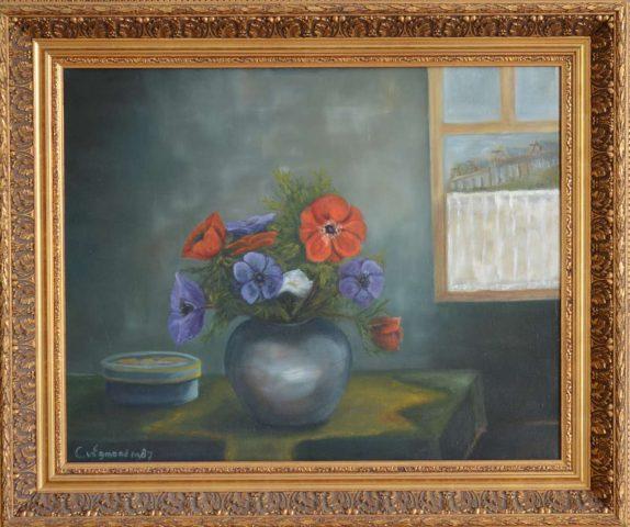 Annemonen 1986 olieverf op doek - 40x50 cm