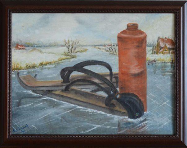 Friese doorlopers 1986 olieverf op doek - 40x30 cm