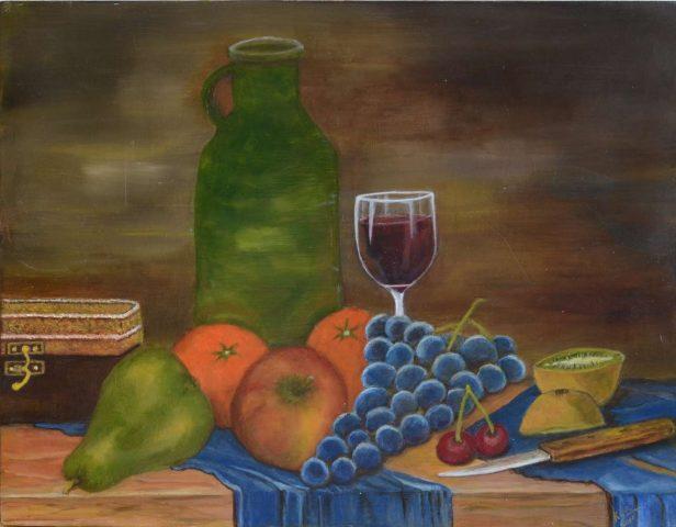 Glas wijn met druiven 2015 olieverf op paneel - 50x38 cm
