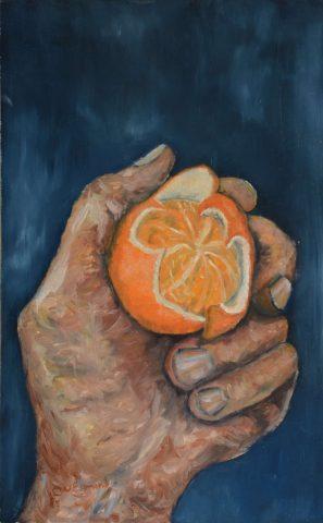 Hand 2-3 sinaasappel 1985 olieverf op hardboard - 25x40 cm