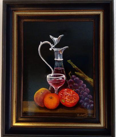 Karaf wijn met fruit 2020 olieverf op paneel
