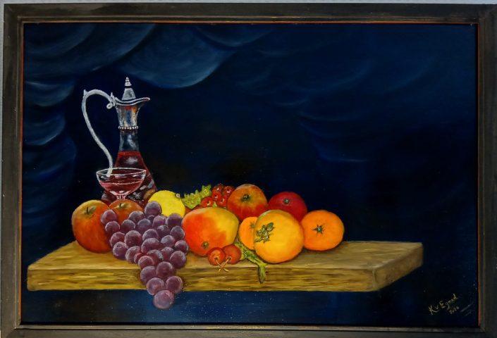 Karaf met wijn en fruit 2020 olieverf op doek