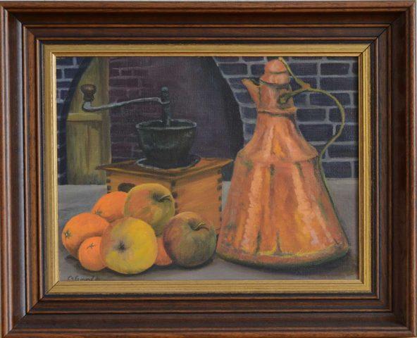 Koffiemolen met fruit 1984 olieverf op paneel - 40x30 cm