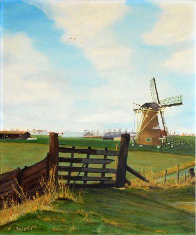 Molen de Hoop op de dijk bij Rijnsburg 1987 olieverf op doek - 50x60 cm