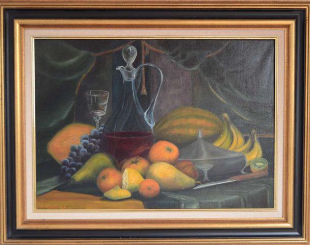 Stilleven met fruit en velours 1986 olieverf op doek - 70x50 cm