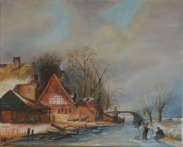 Winterlandschap reproductie 1988 olieverf op doek - 50x40 cm