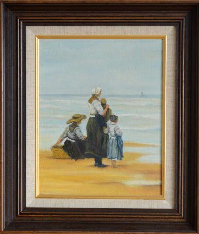 Zeezicht reproductie +-1988 olieverf op doek - 24x30 cm