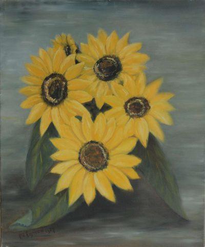 Zonnebloemen 1987 olieverf op doek - 50x60 cm